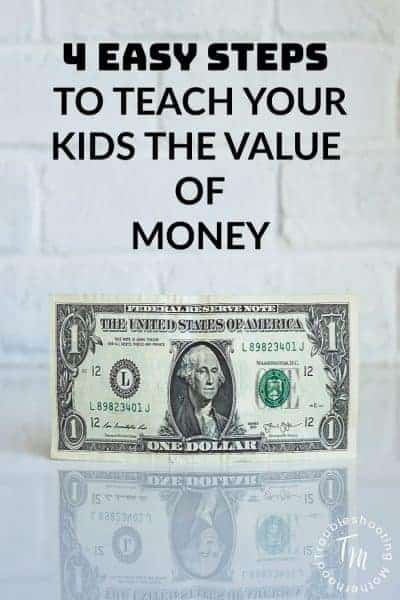 Teach your kids the value of money and how to save with these 4 easy steps. Teach children about saving money and creating good financial habits during their childhood to help create good habits before they enter adulthood. Free printables included helping kids learn about saving money!