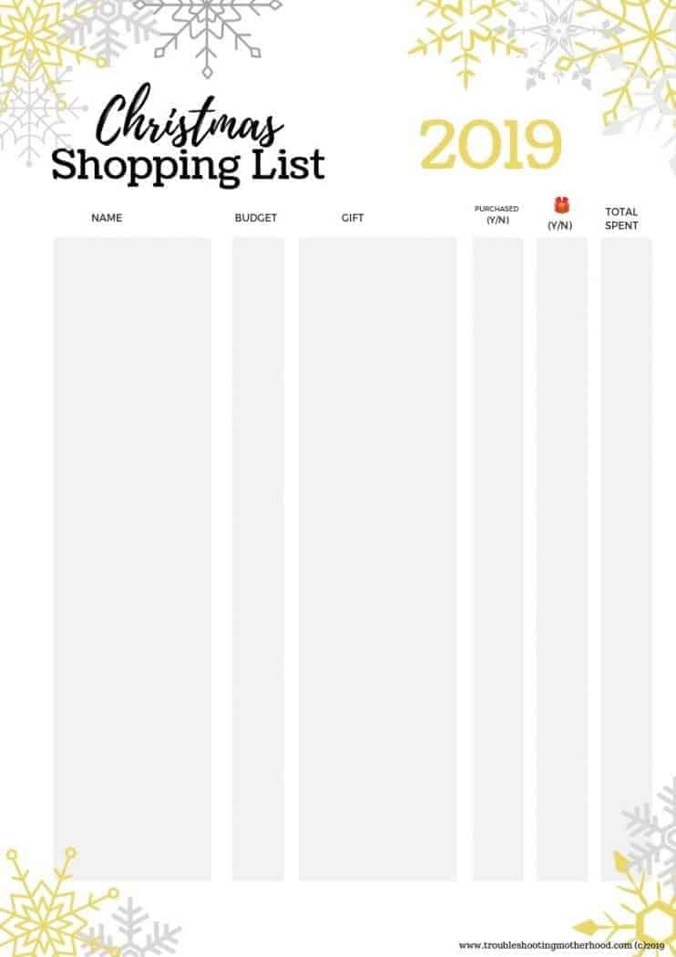 Stay organized this holiday season with this fun snowflake Christmas shopping list free printable. Keep track of all the Christmas gifts you plan on buying and then make note when its purchased and how much you spent. Keep your Christmas Budget on track with this Christmas Shopping List Tracker.