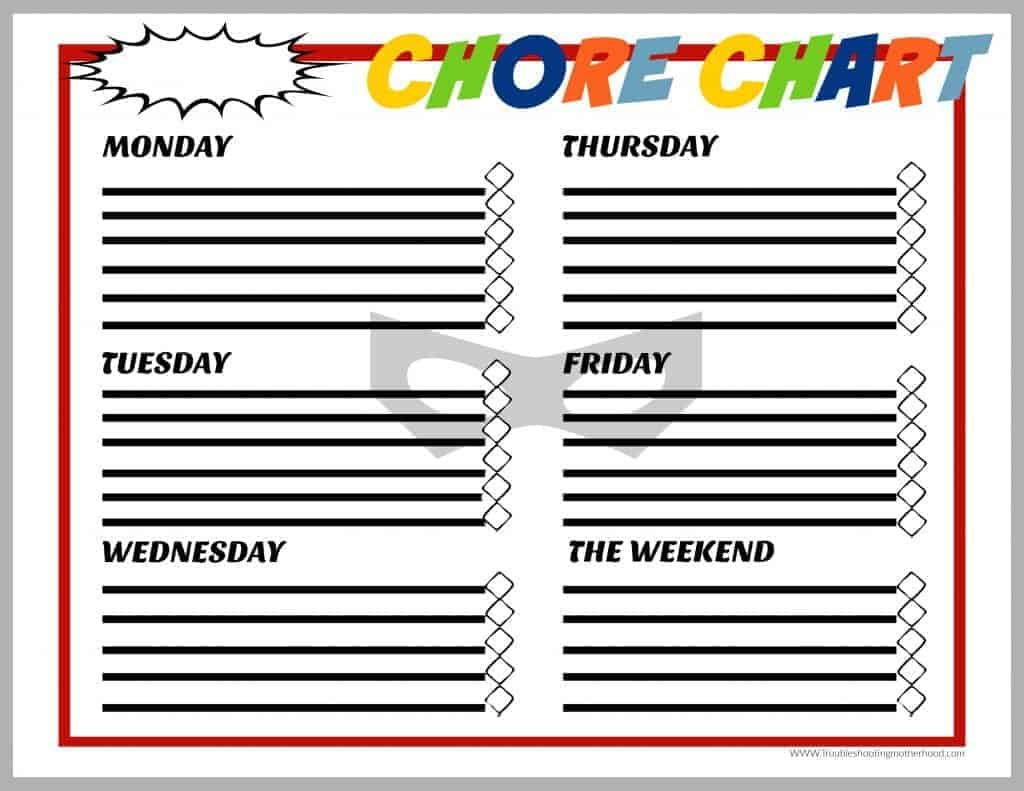 Comic Style Chore Chart for Boys