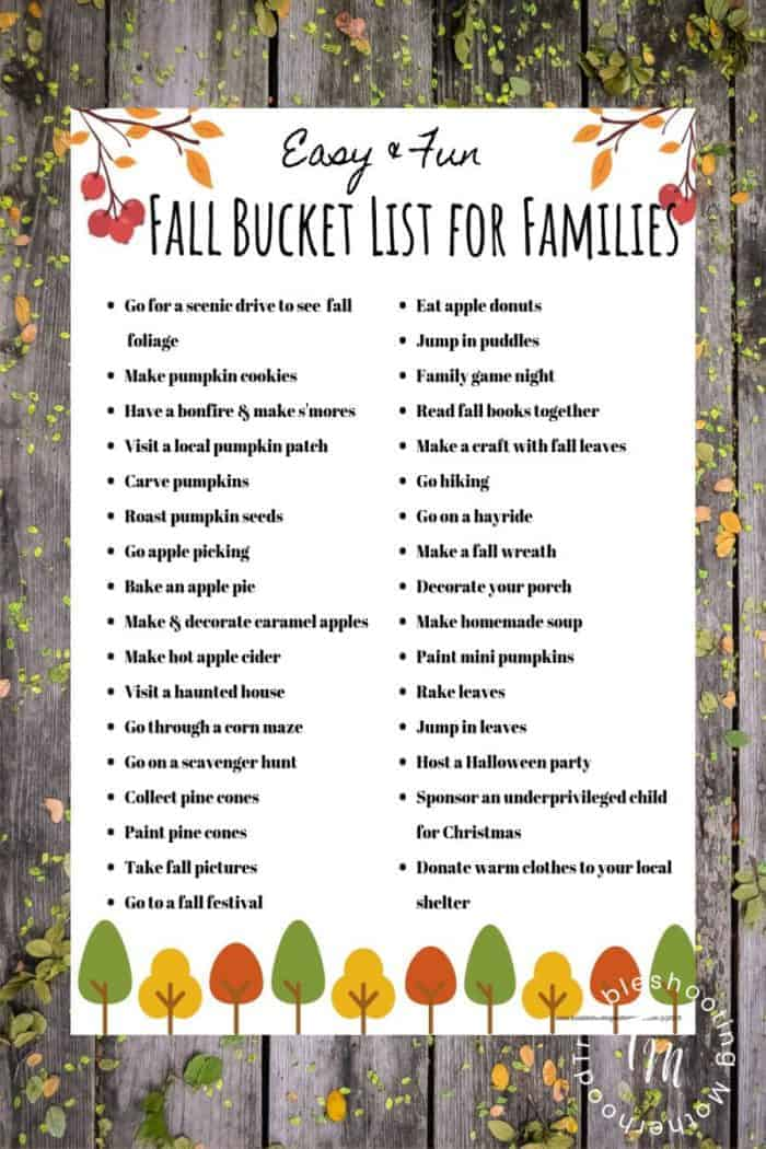 Start the fall season off right with this Fall Bucket List for Families. This bucket list is full of fun activities you and your kids will love doing together as a family. Free Scavenger hunt printable included as well. Happy Fall!!