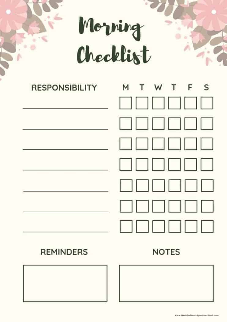 Free printable morning checklist for kids and teens