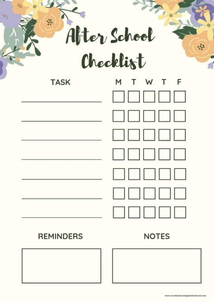 Neutral floral after school checklist for kids