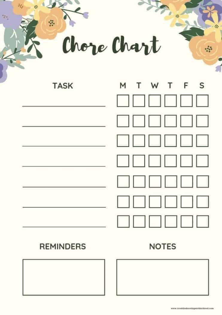 Floral chore chart for kids and teens