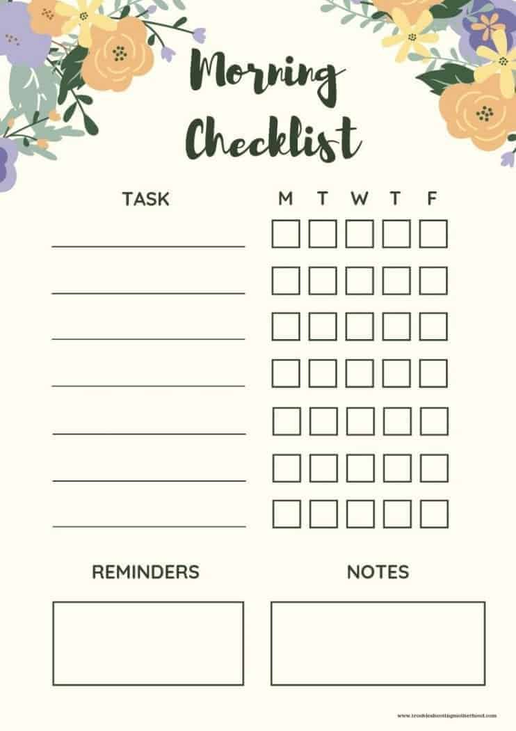 floral morning checklist for kids