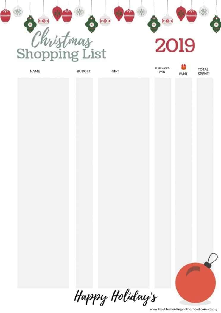 Keep organized this holiday season with a Christmas Planner. Cute free printable for keeping track of your Christmas Gift Shopping List and your Christmas Purchases. #Christmasplanner #Christmasshoppinglist