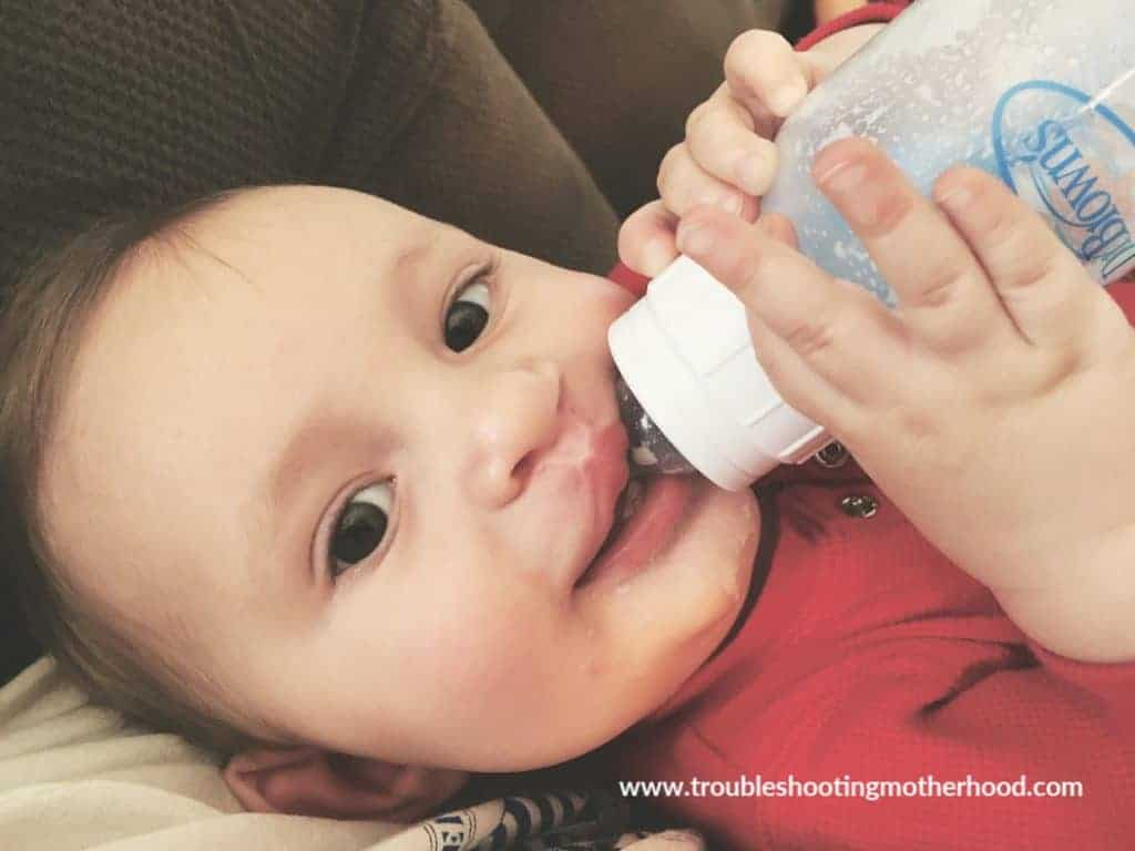 baby wyatt eating from his Dr.Brown's bottle.