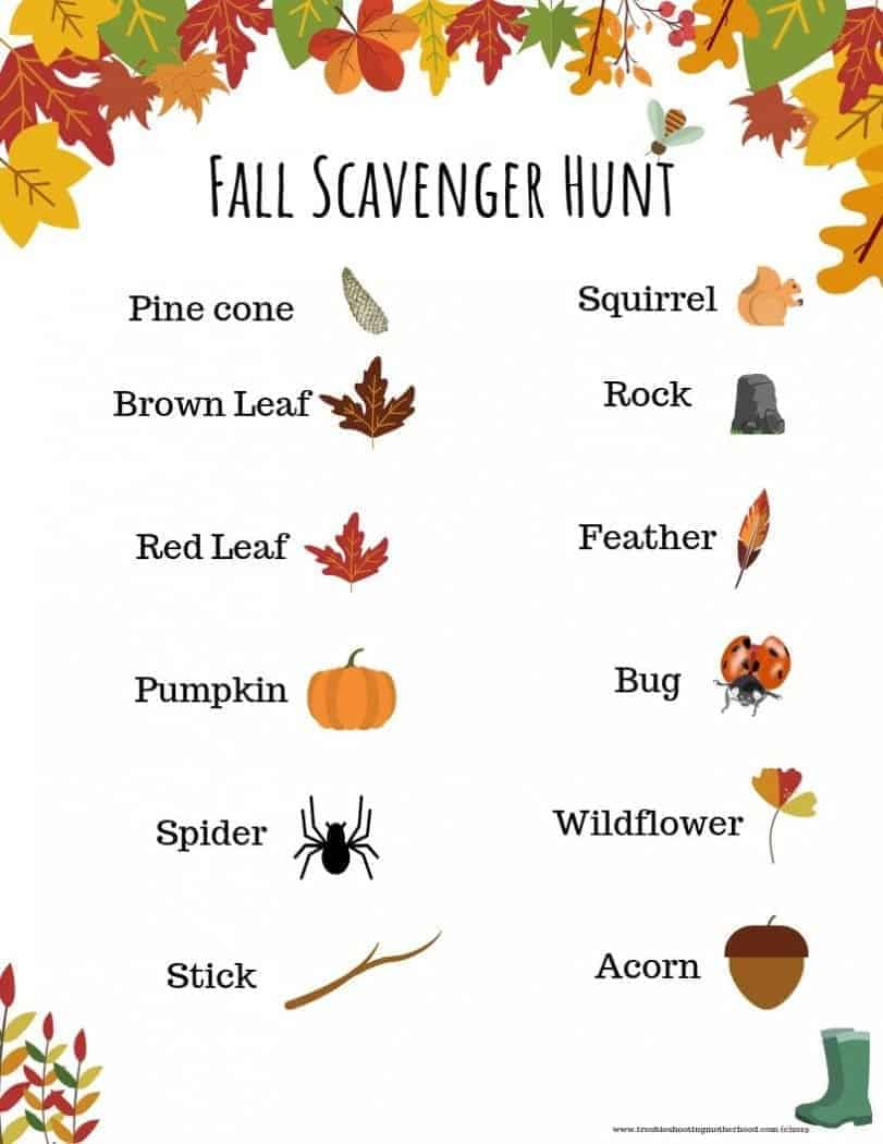 Take your kids outdoors this Fall to have some fun with this Fall Scavenger Hunt! Add this Scavenger hunt to your Fall/Halloween Bucket list this year and enjoy the outdoors with these fun fall activities. #fallscavengerhunt #fallbucketlist #Halloweenbucketlist #Fallactivities #fallactivitieswithkids #freeprintable