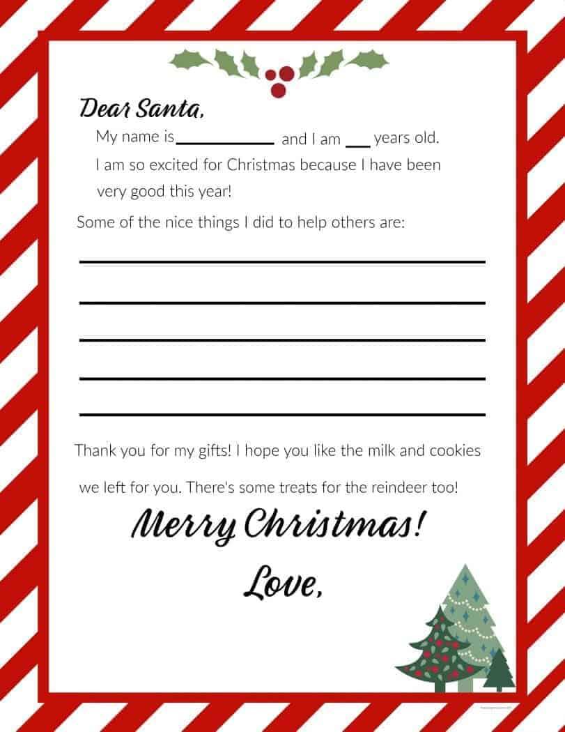Dear Santa Free Printable Letter