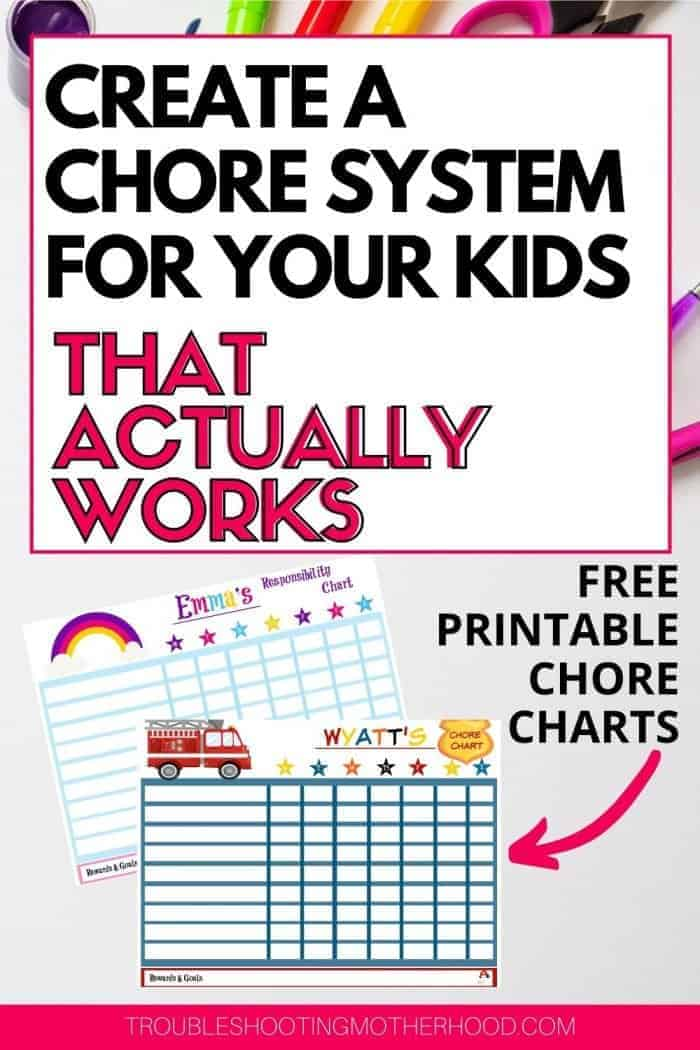 Chore system for kids with free printables