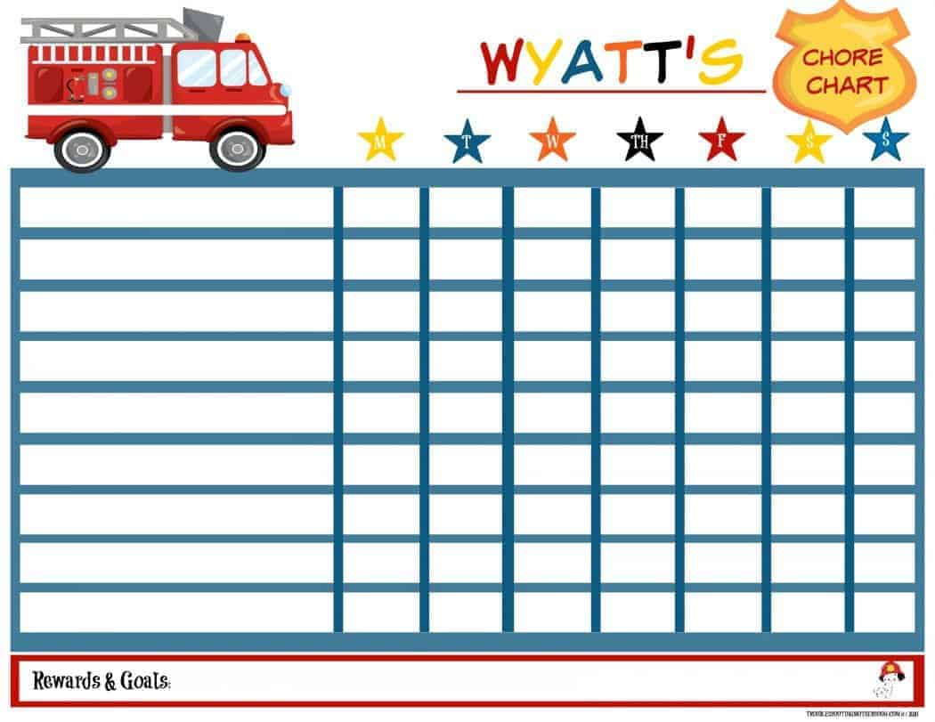 Free printable firetruck chore chart for kids.
