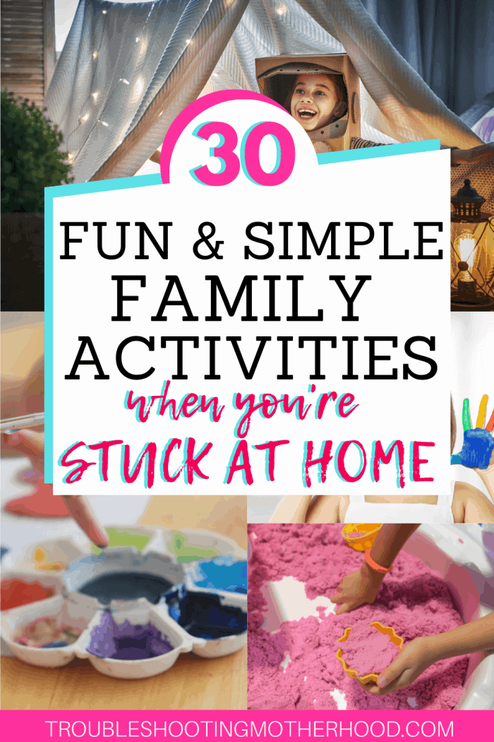 Fun and simple family activities that can be done with kids and toddlers.