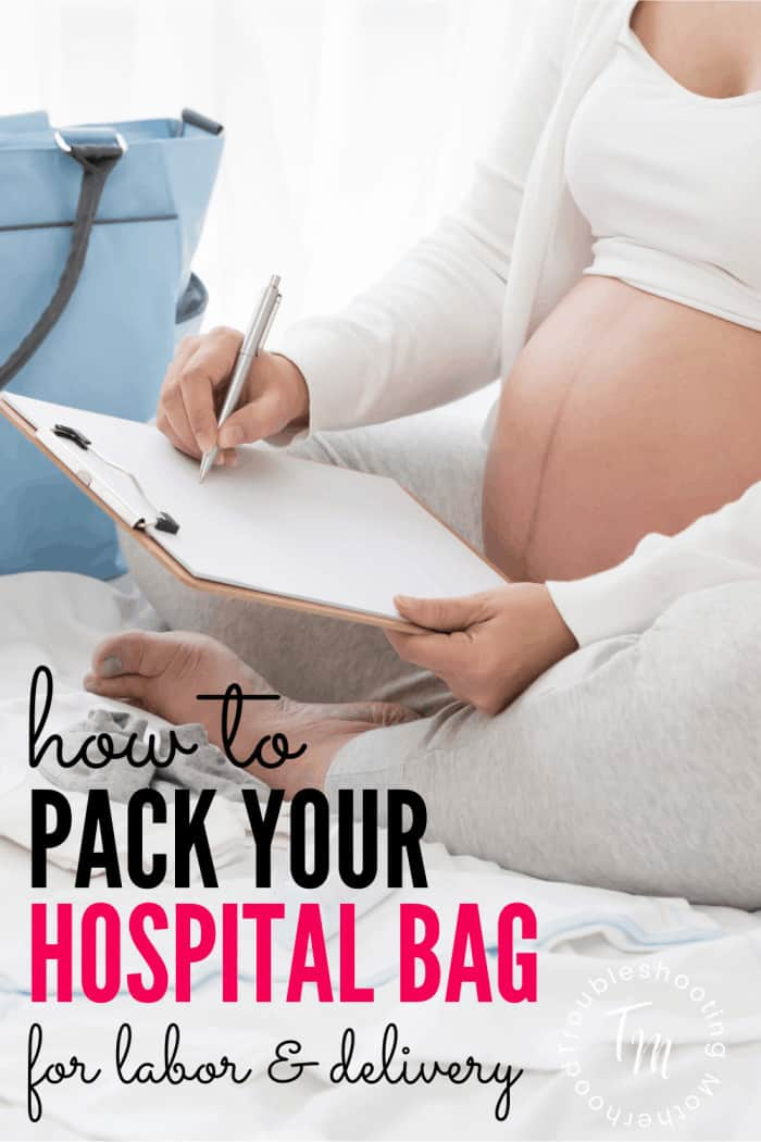 Hospital bag checklist for labor and delivery.