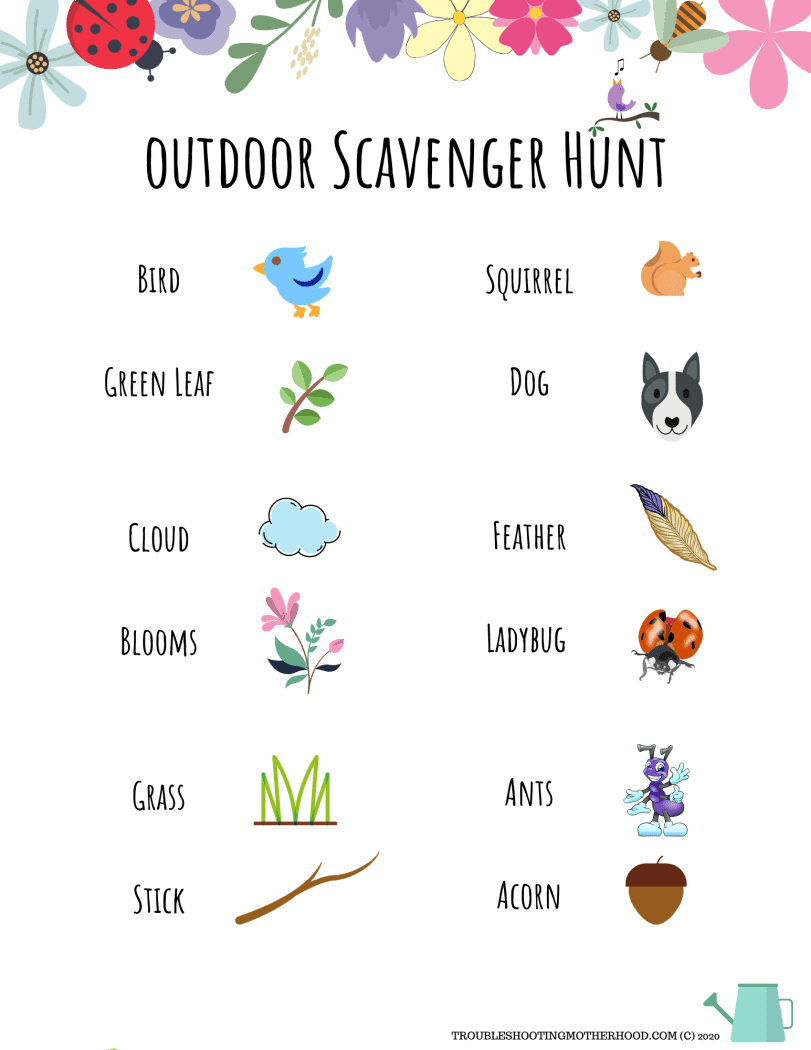 Outdoor printable scavenger hunt for kids.