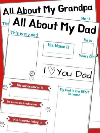 All about my Dad Father's Day Free Printable Craft pages.