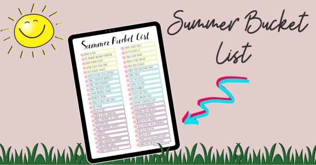 Summer Bucket list for kids graphic