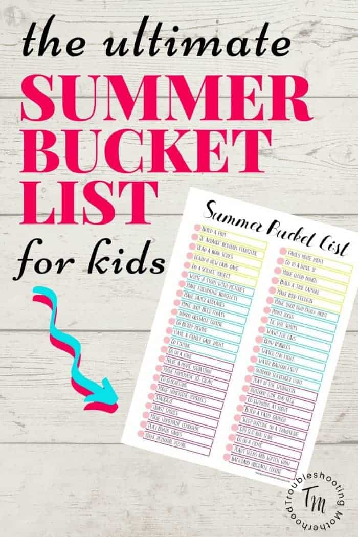 Summer Bucket List for Kids Printable