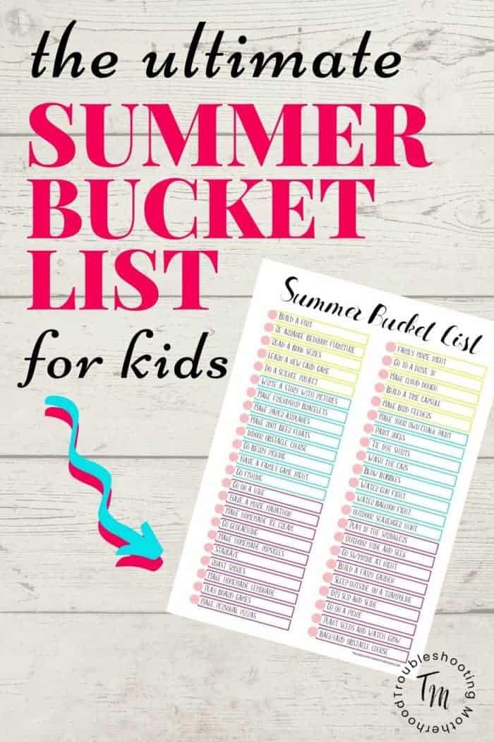 Summer Bucket List for Kids Printable