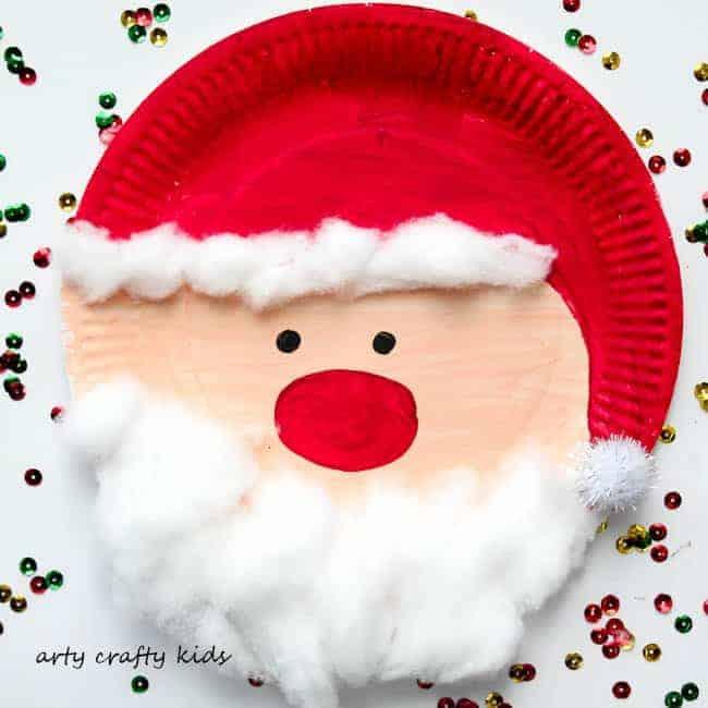 Paper plate Santa face craft