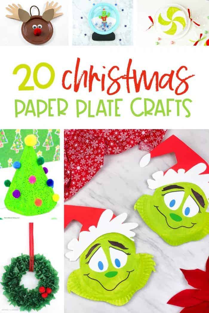 Paper plate Christmas crafts for kids pin image