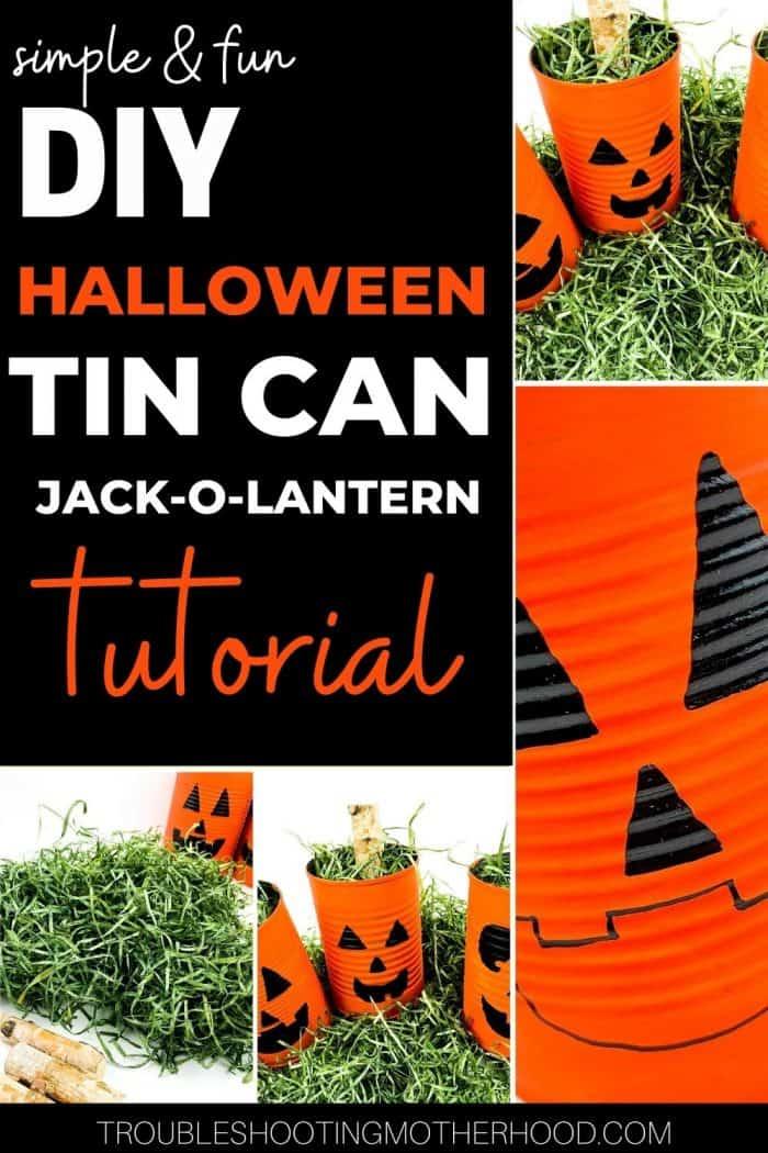Pin image for DIY Halloween tin Can Jack-o-Lantern craft for kids.