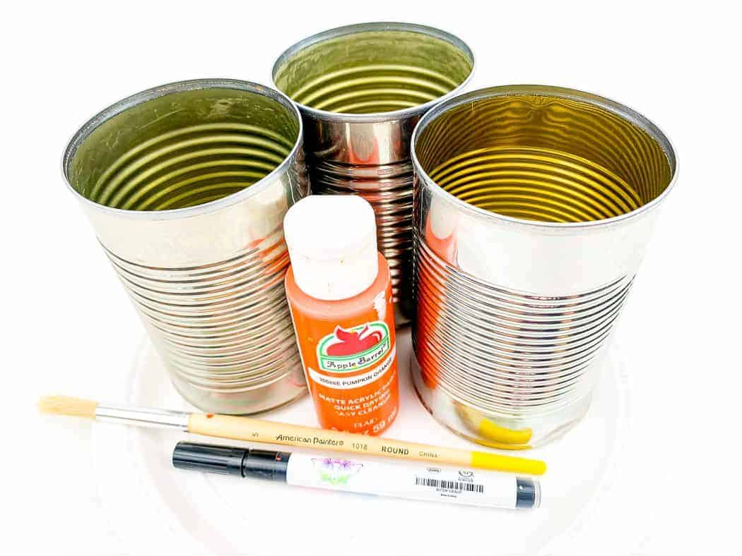 Supplies for project - tin cans, craft paint, paintbrush and craft pen.