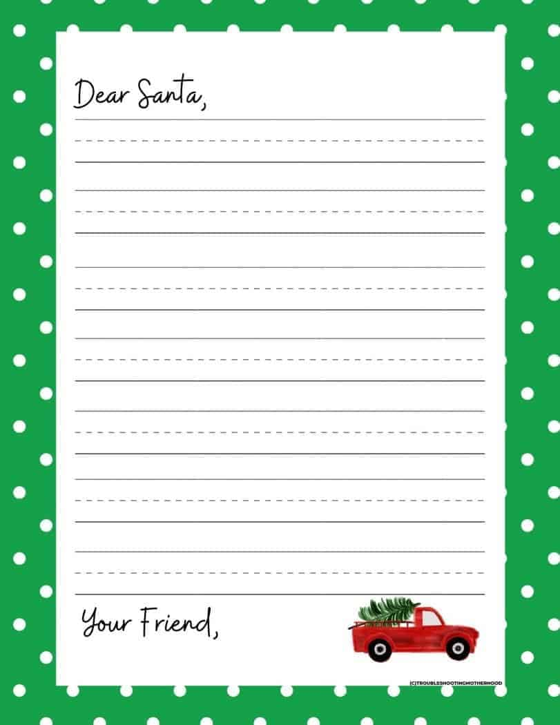 Letter to Santa Template from Kids