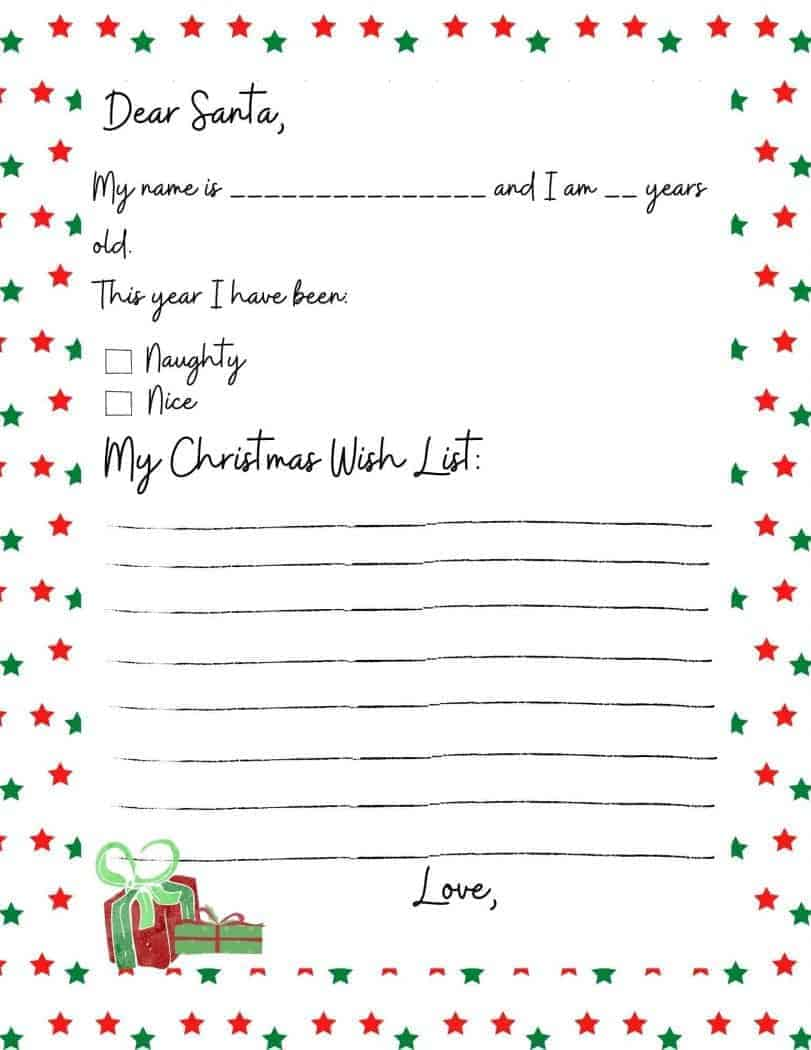 Family Christmas tradition of writing a letter to Santa. Free printable letter to santa.