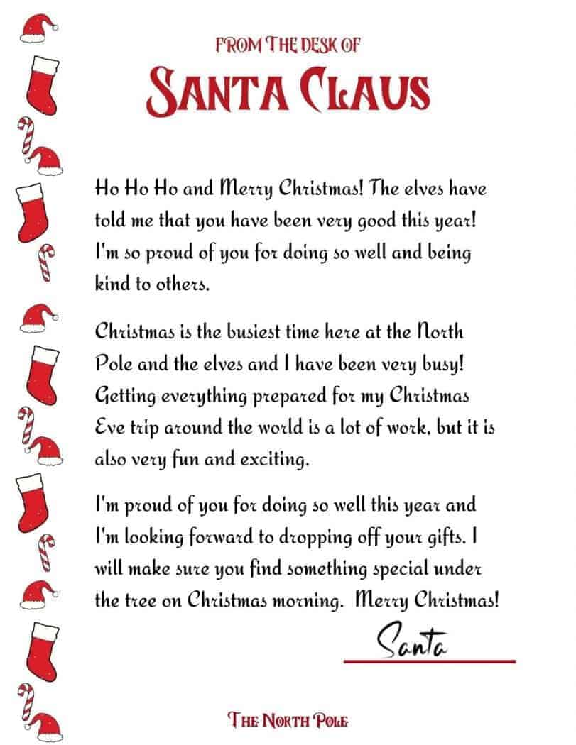 Free Printable Letter From Santa!