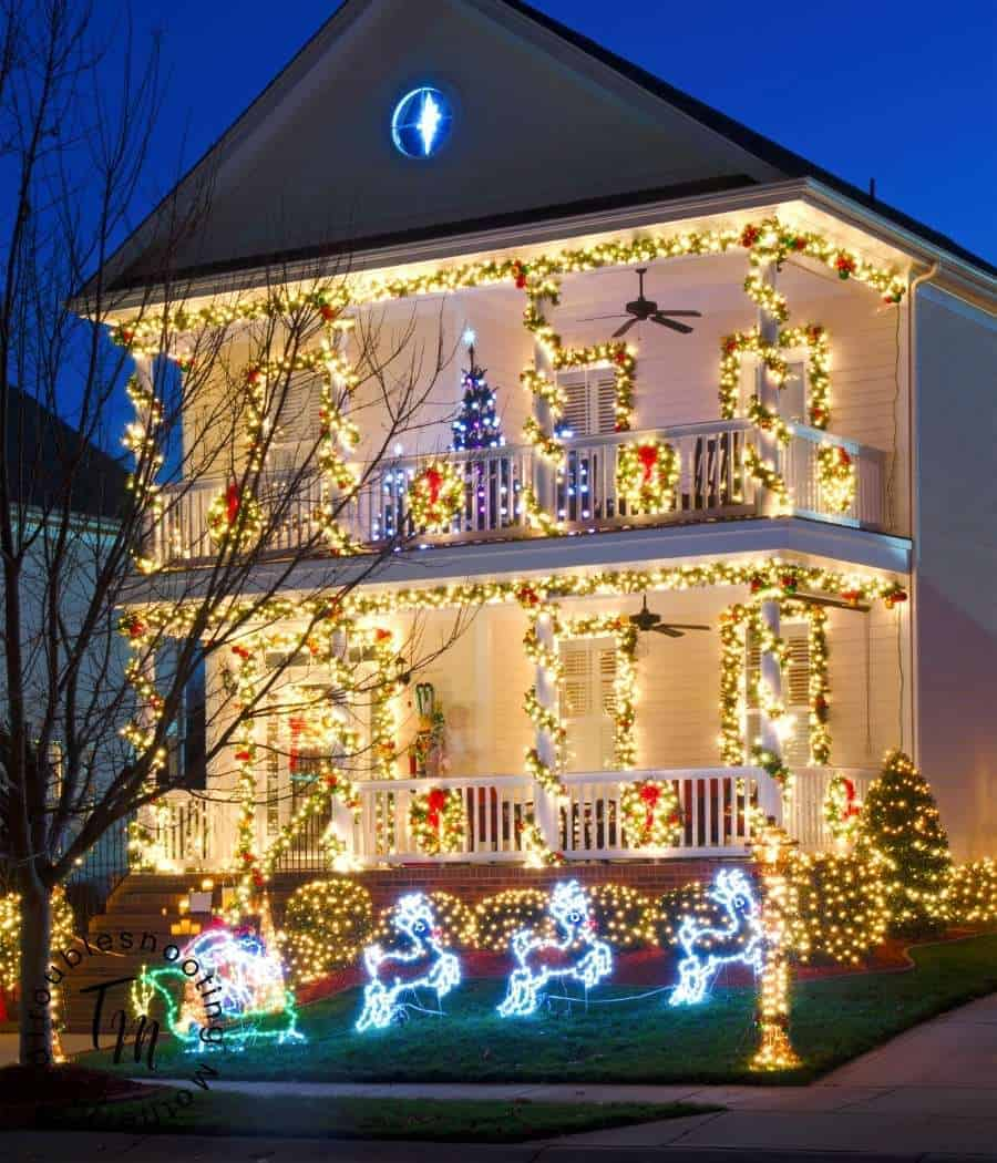 A beautiful house with a Christmas Light display.