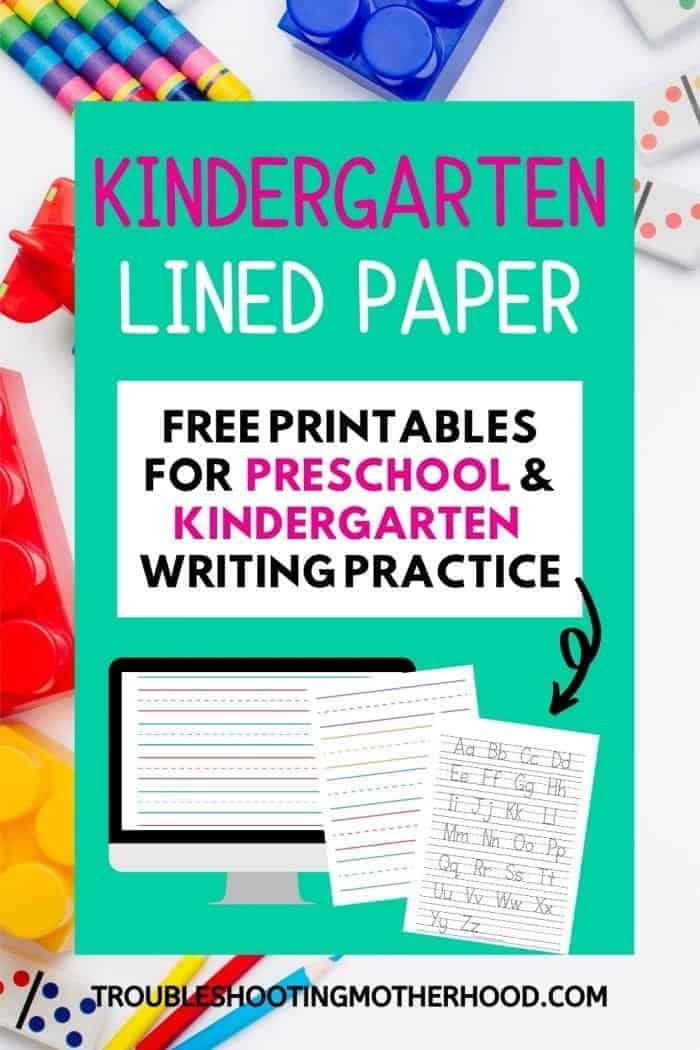 Pin image for preschool and kindergarten lined paper for writing practice.