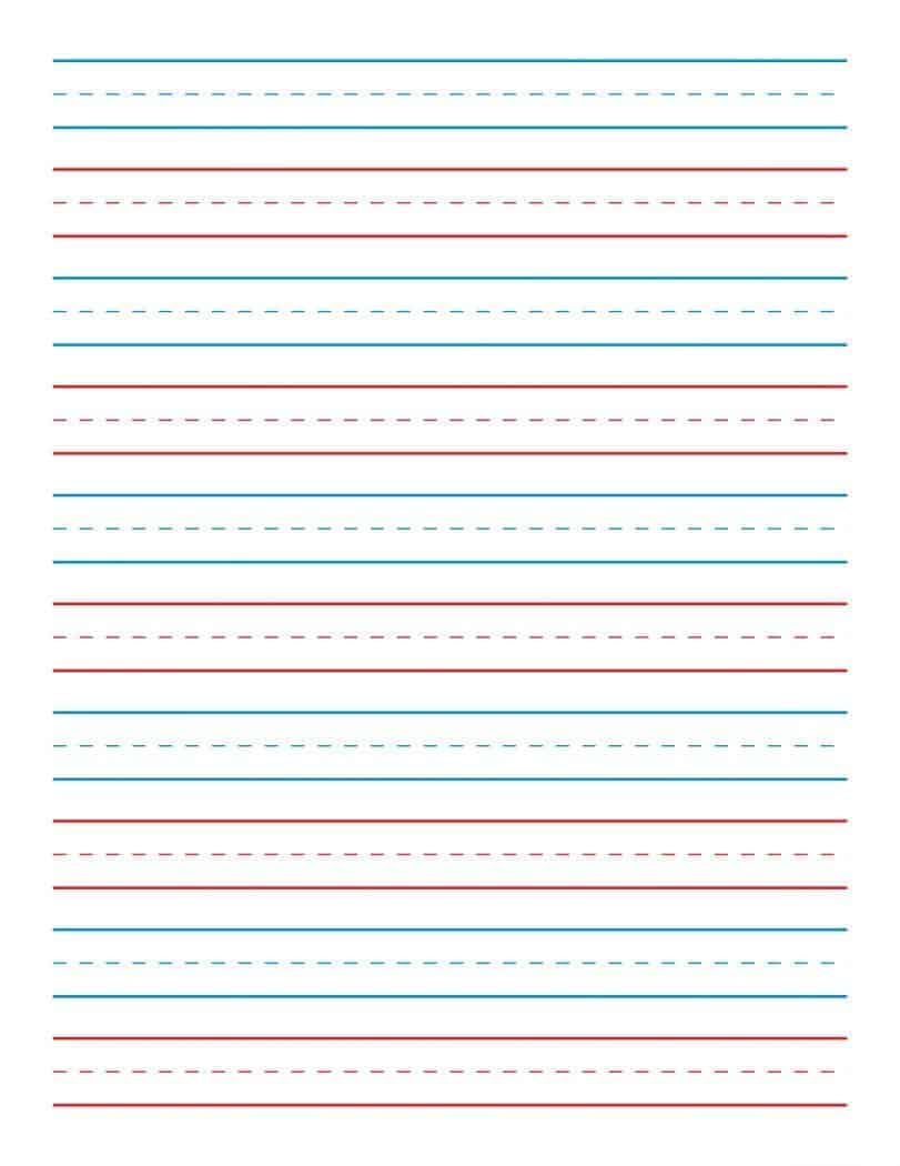Kindergarten lined paper to print out.
