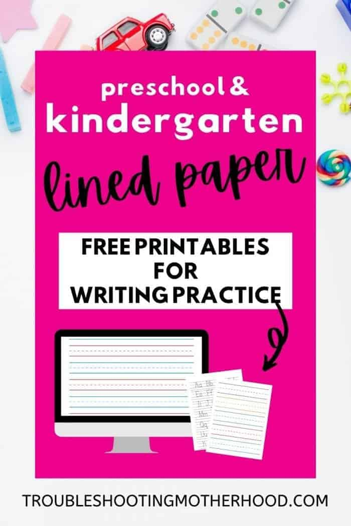 Pinterest image with photos of kindergarten lined paper, preschool lined paper and alphabet tracing for kids. Use these papers to promote early writing using writing practice on lined paper for kids.