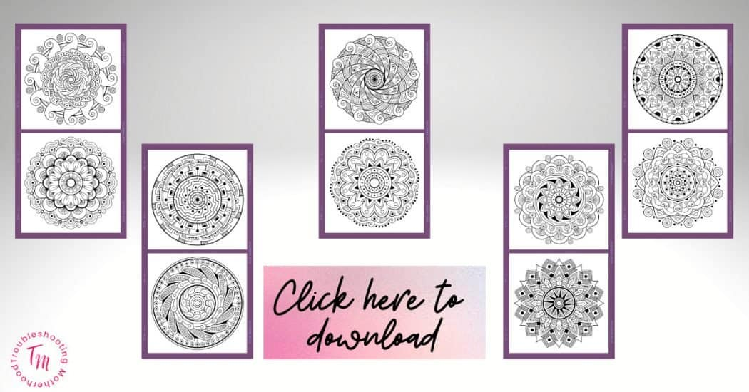 10 Free Mandala Coloring Pages for Adults. Relaxing coloring pages for moms to help relax.